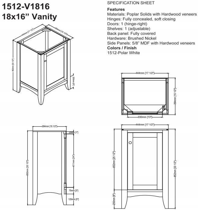 "1512V1816s - 18"" Fairmont Designs Shaker Americana Vanity/Sink Combo"