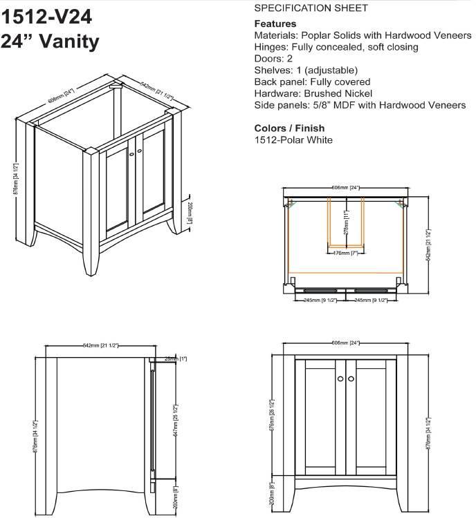 "1512V24s - 24"" Fairmont Designs Shaker Americana  Vanity"