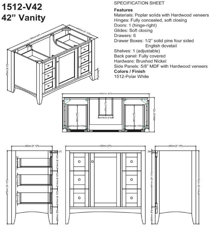 "1512V42s - 42"" Fairmont Designs Shaker Americana  Vanity"