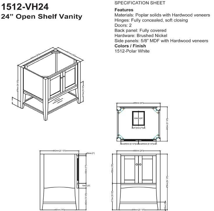 "1512VH24s - 24"" Fairmont Designs Shaker Americana Open Shelf Vanity"