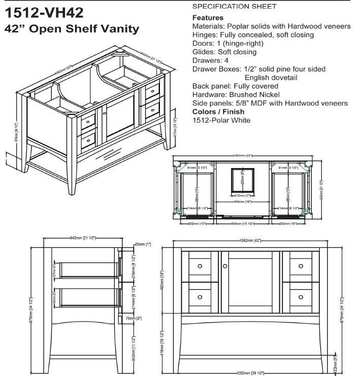"1512VH42s - 42"" Fairmont Designs Shaker Americana Open Shelf Vanity"