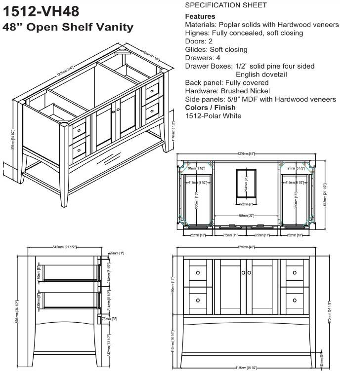 "1512VH48S - 48"" Fairmont Designs Shaker Americana Open Shelf Vanity"