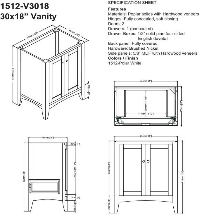 "1512v3018s - 30"" Fairmont Designs Shaker Americana  Vanity/Sink Combo"