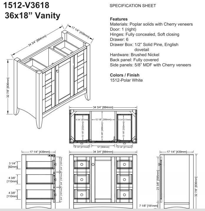 "1512v3618s - 36"" Fairmont Designs Shaker Americana  Vanity/Sink Combo"