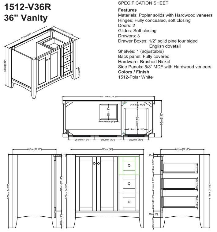 "1512v36rs - 36"" Fairmont Designs Shaker Americana  Vanity"