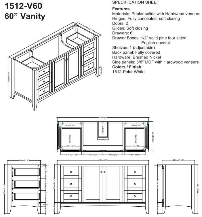"1512v60s - 60"" Fairmont Designs Shaker Americana  Vanity"