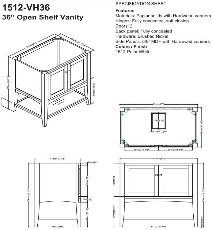 "1512vh36s - 36"" Fairmont Designs Shaker Americana Open Shelf Vanity"