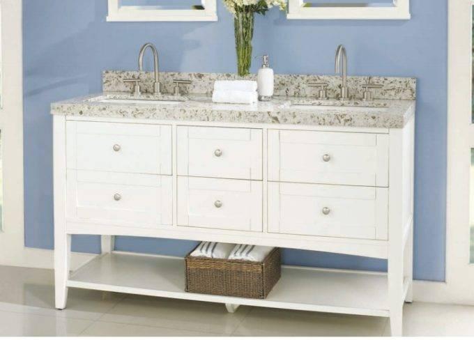 "1512vh6021d 680x488 - 60"" Fairmont Designs Shaker Americana Double Sink Open Shelf Vanity"