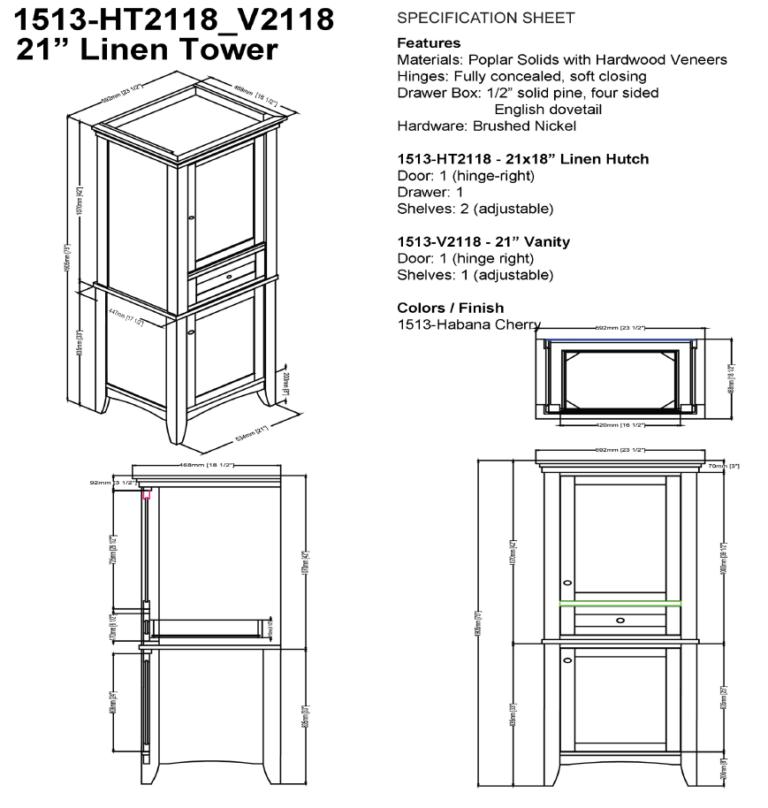 "1513 hts 768x808 - Fairmont Designs Shaker Americana 21"" Linen Tower"