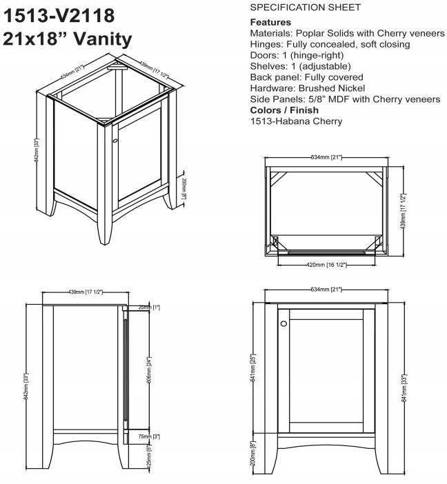 "1513V2118s - 21"" Fairmont Designs Shaker Americana Vanity/Sink Combo"