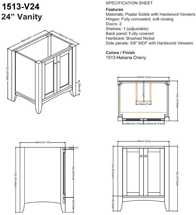 "1513V24S - 24"" Fairmont Designs Shaker Americana Vanity"