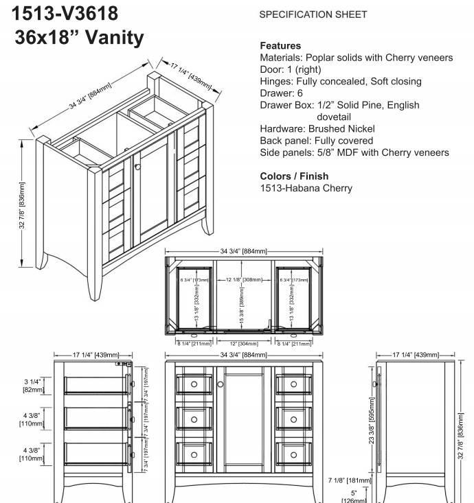 "1513V3618s - 36"" Fairmont Designs Shaker Americana Vanity/Sink Combo"