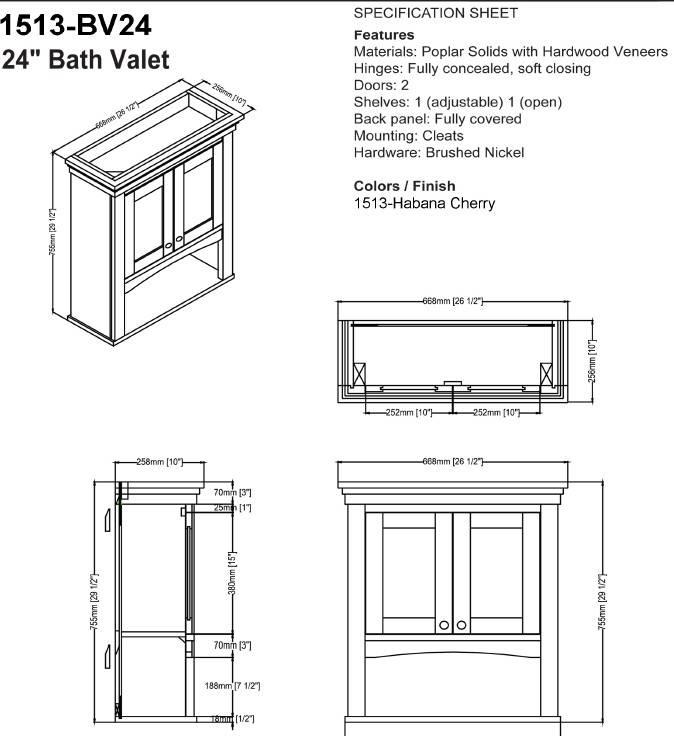 "1513bv24s 1 - 30"" Fairmont Designs Shaker Americana Vanity/Sink Combo"