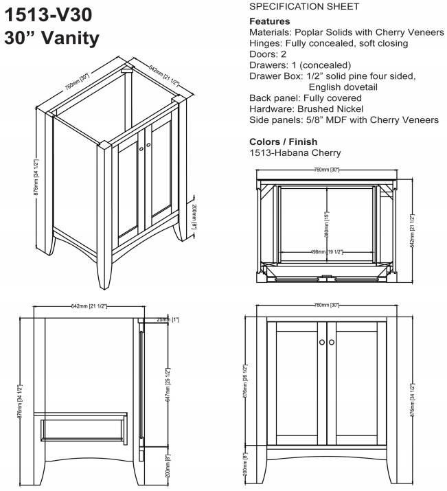 "1513v30s - 30"" Fairmont Designs Shaker Americana Vanity"