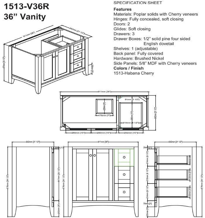 "1513v36rs - 36"" Fairmont Designs Shaker Americana Vanity"