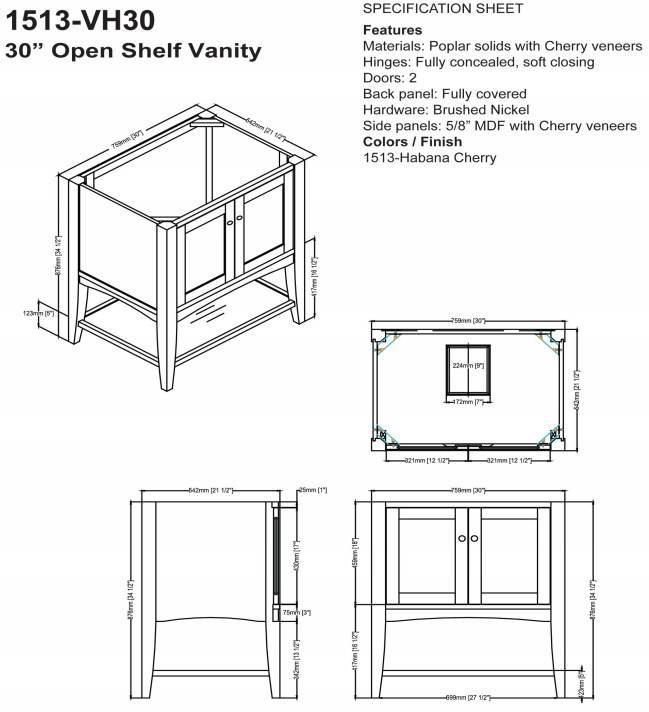 "1513vh30s 1 - 30"" Fairmont Designs Shaker Americana Open Shelf Vanity"
