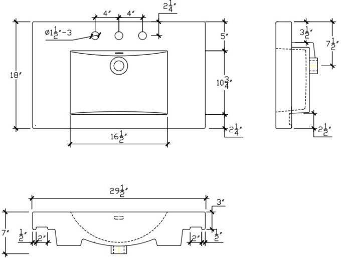 "S11030W8S 680x515 - 30"" Fairmont Designs Shaker Americana Vanity/Sink Combo"