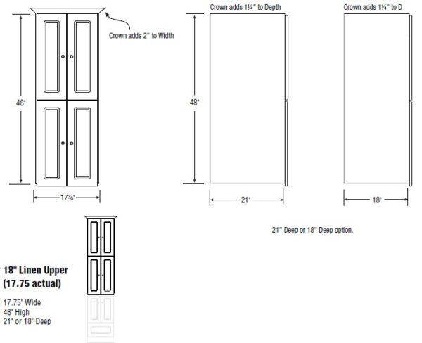 "18linenupper s 600x488 - Strasser Woodenworks Montlake 18"" Linen Tower, 7 Door Styles, 15 Finishes"