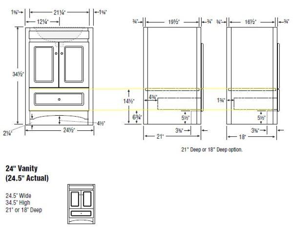 """24acc s 600x471 - Strasser Woodenworks 24"""" Ravenna Vanity, 7 Door Styles, 15 Finishes"""
