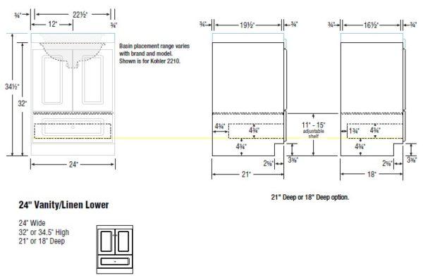 "24cab s 600x395 - Strasser Woodenworks 24"" Montlake Vanity,7 Door Styles, 15 Finishes"