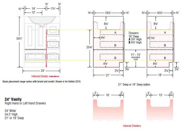 "24rhcab s 600x433 - Strasser Woodenworks 24"" Montlake Vanity,7 Door Styles, 15 Finishes"