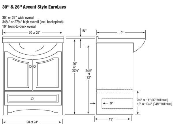 """3026RVEL 600x431 - Strasser Woodenworks 26"""" Ravenna Eurolav Vanity, 15 Finishes"""