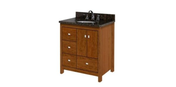 "30ALKIESSENCEL 600x296 - Strasser Woodenworks 30"" Alki Essence Vanity, 4 Door Styles, 15 Finishes"