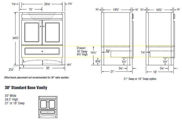 """30acc s 600x403 - Strasser Woodenworks 30"""" Ravenna Vanity, 7 Door Styles, 15 Finishes"""