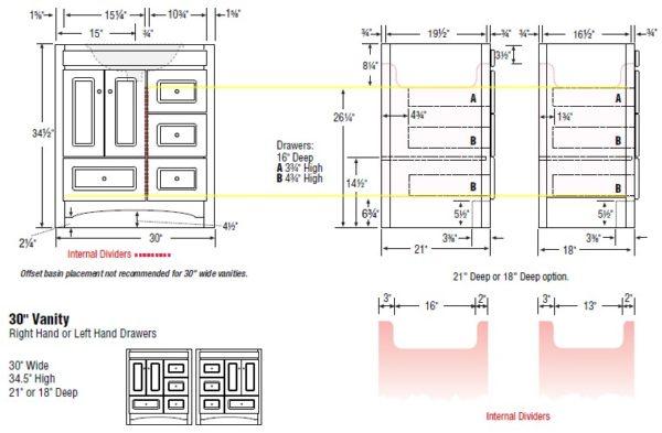 "30accrl s 600x393 - Strasser Woodenworks 30"" Ravenna Vanity, 7 Door Styles, 15 Finishes"