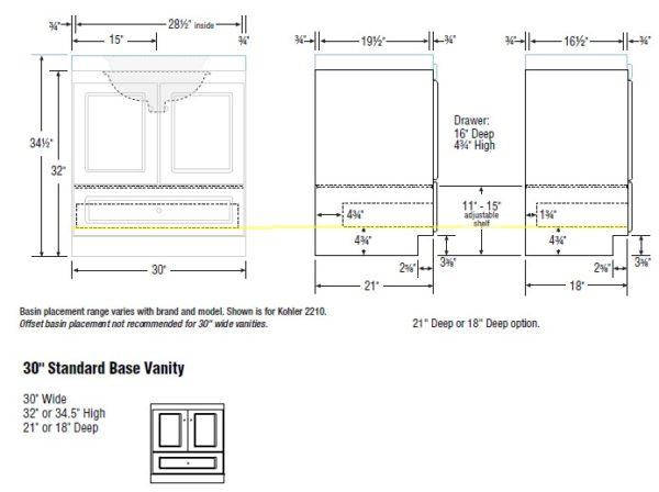 "30cab s 600x448 - Strasser Woodenworks 30"" Montlake Vanity, 7 Door Styles, 15 Finishes"