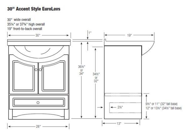 "30euroacc s 600x421 - Strasser Woodenworks 30"" Ravenna Eurolav Vanity, 15 Finishes"