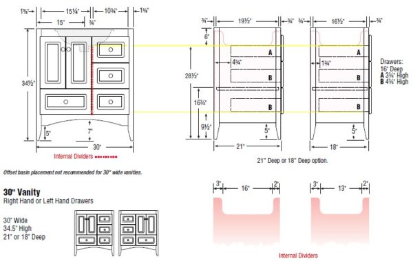 "30furrl s 1 600x380 - Strasser Woodenworks 30"" Wallingford Vanity, 7 Door Styles, 15 Finishes"