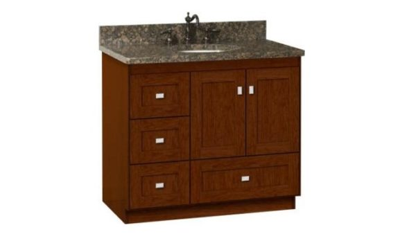 "36MLL 600x338 - Strasser Woodenworks 36"" Montlake Vanity, 7 Door Styles, 15 Finishes"