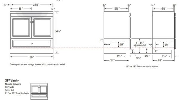 "36MLS 600x335 - Strasser Woodenworks 36"" Montlake Vanity, 7 Door Styles, 15 Finishes"