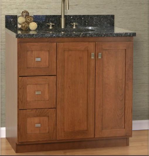 "36MLVLEFT - Strasser Woodenworks 36"" Montlake View Vanity, 7 Door Styles, 15 Finishes"