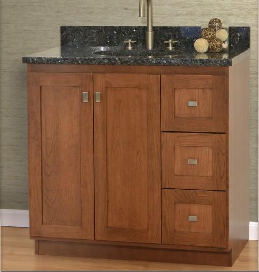 "36MLVR - Strasser Woodenworks 36"" Montlake View Vanity, 7 Door Styles, 15 Finishes"