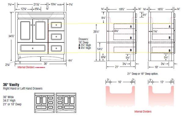 "36accrl s 600x380 - Strasser Woodenworks 36"" Ravenna Vanity, 7 Door Styles, 15 Finishes"