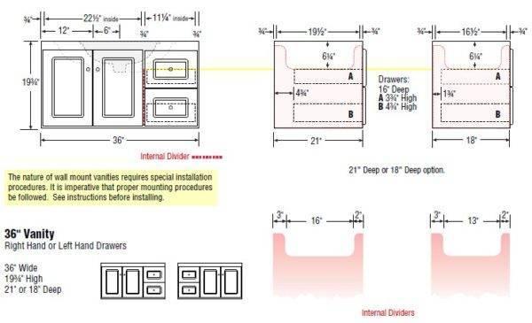 "36wallLR s 600x365 - Strasser Woodenworks 36"" SoDo Wall Mount Vanity, 4 Door Styles, 15 Finishes"