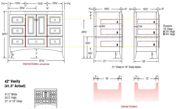 "42fur s 600x372 - Strasser Woodenworks 42"" Wallingford Vanity, 7 Door Styles, 15 Finishes"