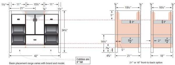 "42inset s 600x223 - Strasser Woodenworks 42"" Alki Cafe Vanity, 4 Door Styles, 15 Finishes"