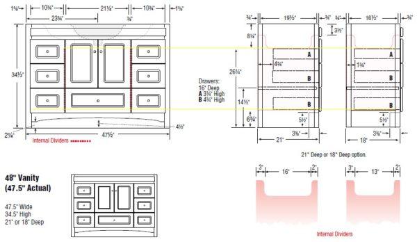 """48acc s 600x348 - Strasser Woodenworks 48"""" Ravenna Vanity, 7 Door Styles, 15 Finishes"""