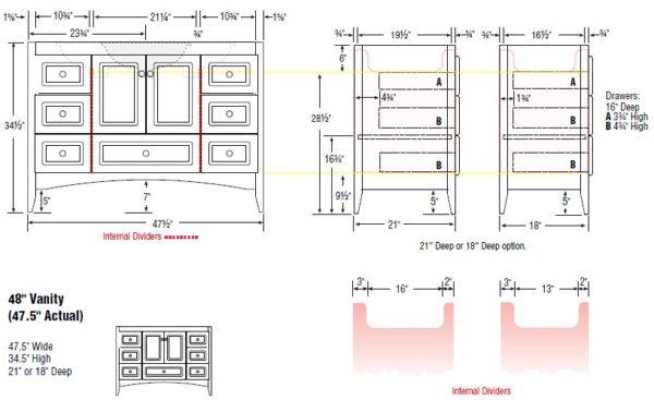 "48fur s 600x367 - Strasser Woodenworks 48"" Wallingford Vanity, 7 Door Styles, 15 Finishes"