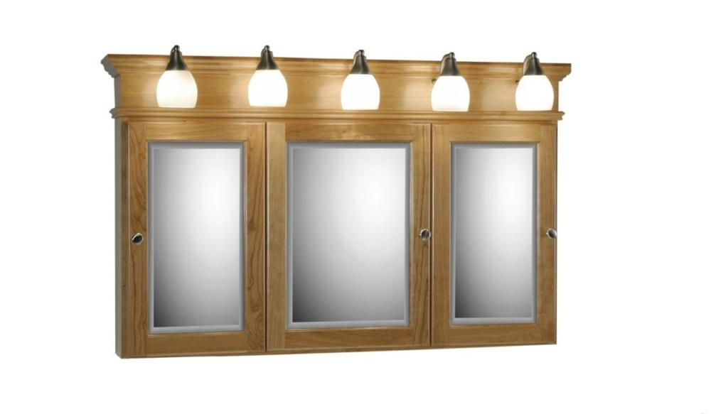 48triviewlights 1 600x350 Strer Woodenworks 48 Traditional Tri View Medicine Cabinet 7 Door
