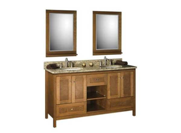"60alkicafe 600x443 - Strasser Woodenworks 60"" Alki Cafe Double Sink Vanity, 4 Door Styles, 15 Finishes"
