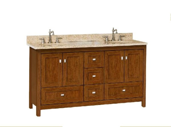 "60alkiessence 600x446 - Strasser Woodenworks 60"" Alki Essence Double Sink Vanity, 4 Door Styles, 15 Finishes"
