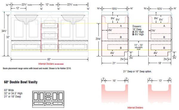 "60cab s 600x369 - Strasser Woodenworks 60"" Montlake Double Sink Vanity, 7 Door Styles, 15 Finishes"
