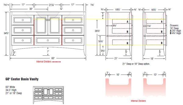 "60furcenter s 600x343 - Strasser Woodenworks 60"" Wallingford Vanity, 7 Door Styles, 15 Finishes"