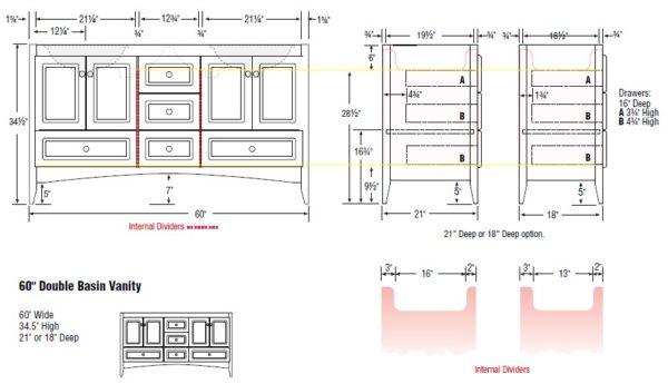 "60furdouble s 600x345 - Strasser Woodenworks 60"" Ravenna Double Sink Vanity, 7 Door Styles, 15 Finishes"