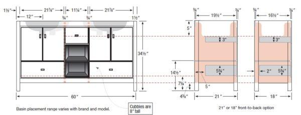 "60inset s 600x230 - Strasser Woodenworks 60"" Alki Cafe Double Sink Vanity, 4 Door Styles, 15 Finishes"