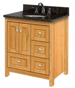 "ALKIESSENCE30LD - Strasser Woodenworks 30"" Alki Essence Vanity, 4 Door Styles, 15 Finishes"
